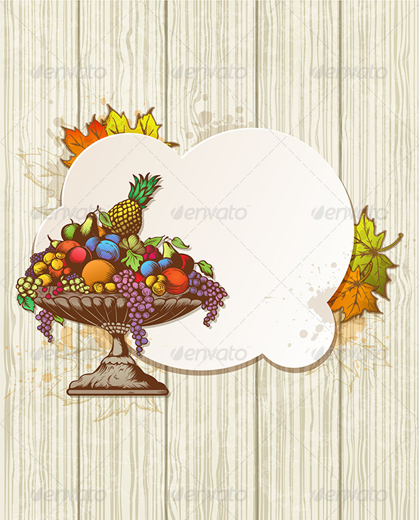Vintage Banner with Fruits - Food Objects