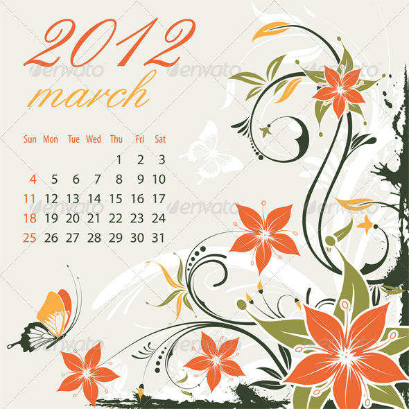 Calendar for 2012 March - New Year Seasons/Holidays