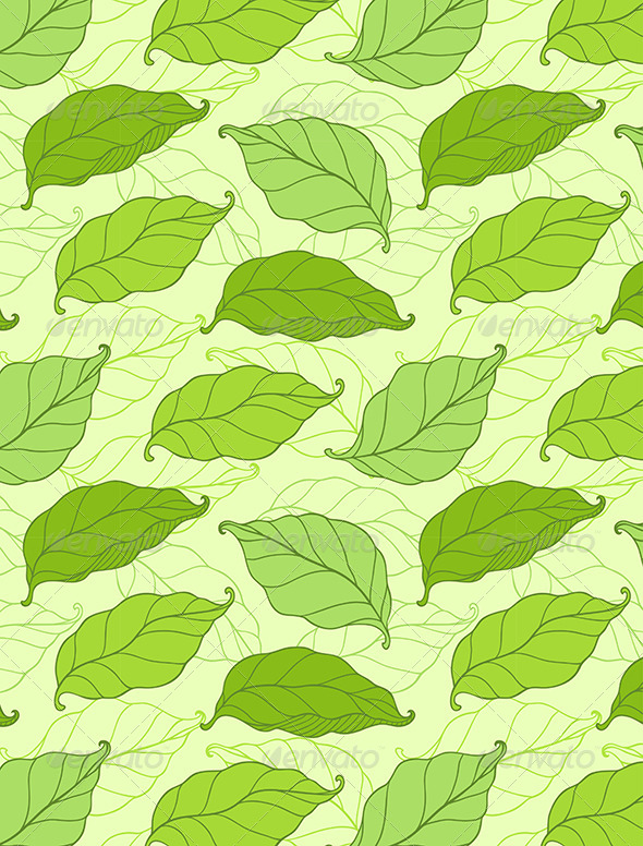 Pattern with Green Spring Leaves - Patterns Decorative