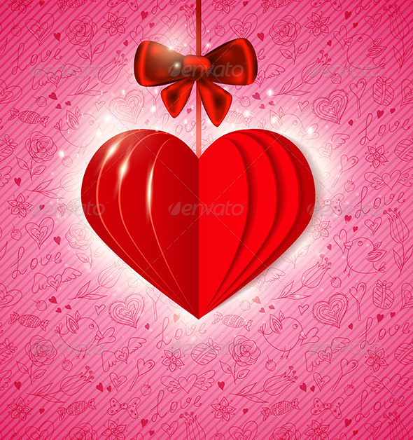 Red  Paper Heart - Valentines Seasons/Holidays