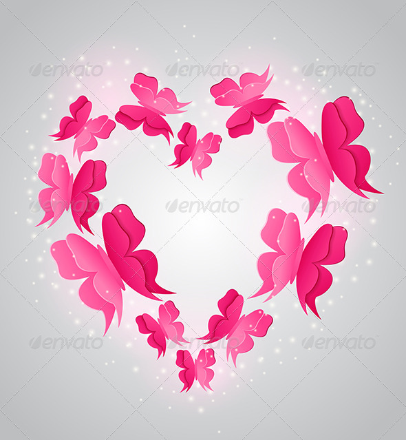 Heart and Pink  Butterflies - Valentines Seasons/Holidays