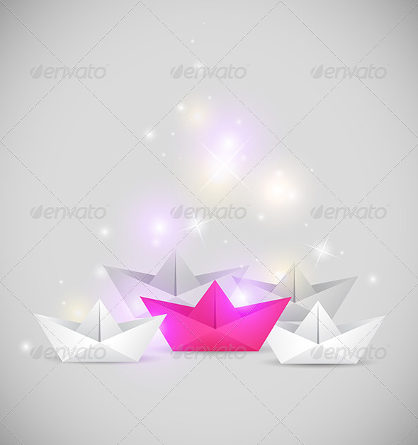 Background with Paper Boat Origami - Abstract Conceptual