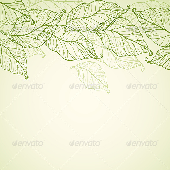 Background with Falling Green Leaves - Backgrounds Decorative
