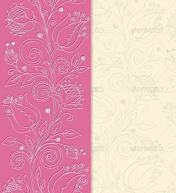 Pink Background with Hand Drawn Flowers - Backgrounds Decorative