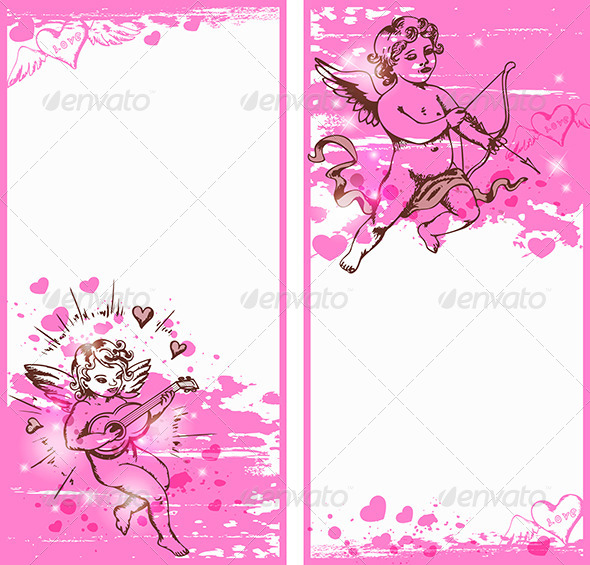Vertical Pink Banners with Cupids - Valentines Seasons/Holidays