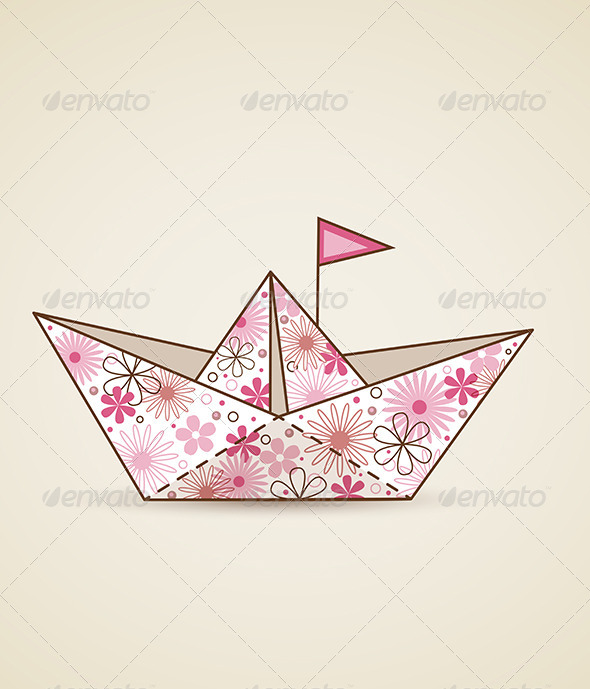 Paper Boat and Flowers - Travel Conceptual