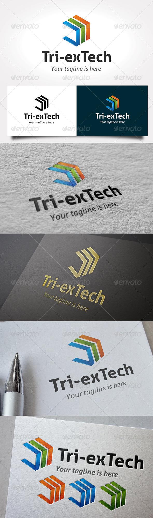 Tri-exTech Logo - 3d Abstract