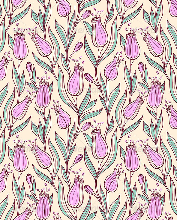 Seamless Pattern with Pink Tulips - Patterns Decorative