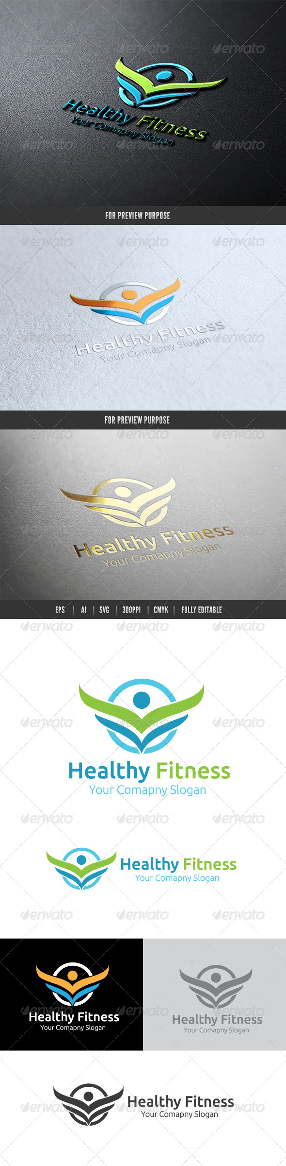 Healthy Fitness - Crests Logo Templates