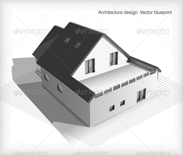 Architecture Model House on Top of Blueprints - Buildings Objects