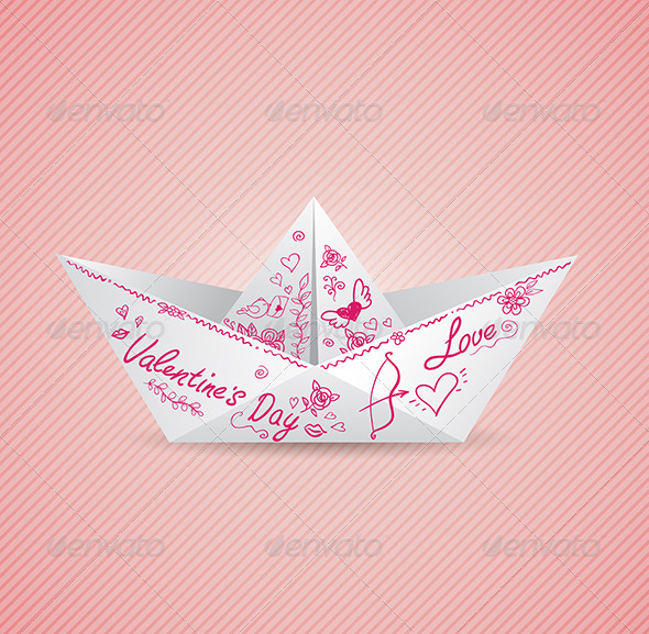 Background with Paper Boat  - Valentines Seasons/Holidays