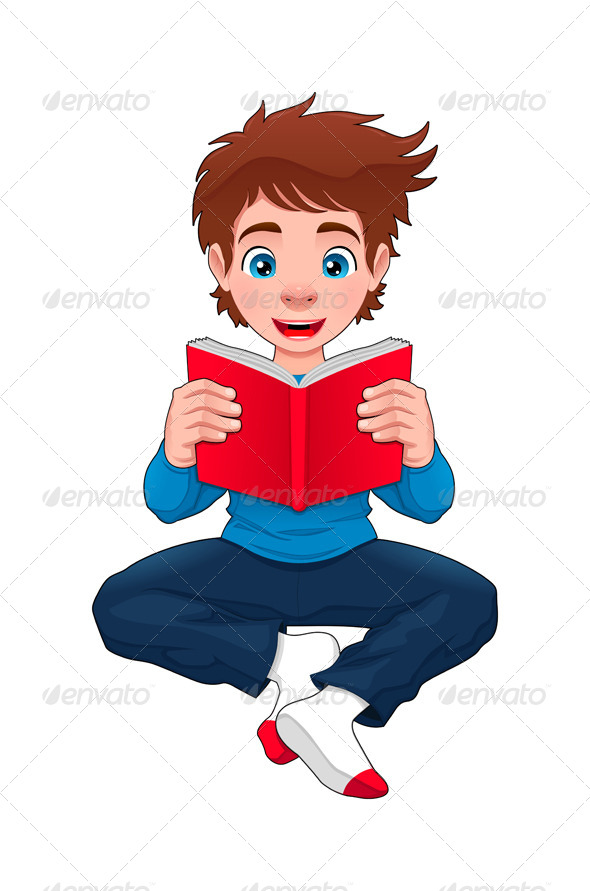 Boy is Reading a Book - People Characters