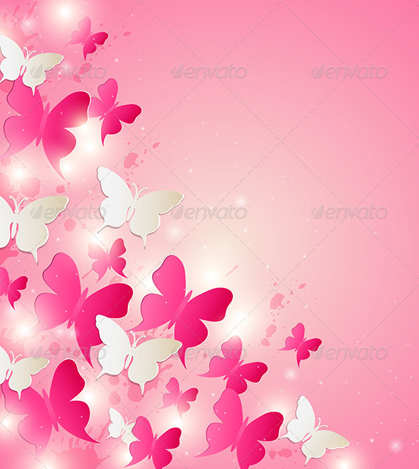 Abstract Background with Red and White Butterflies - Abstract Conceptual