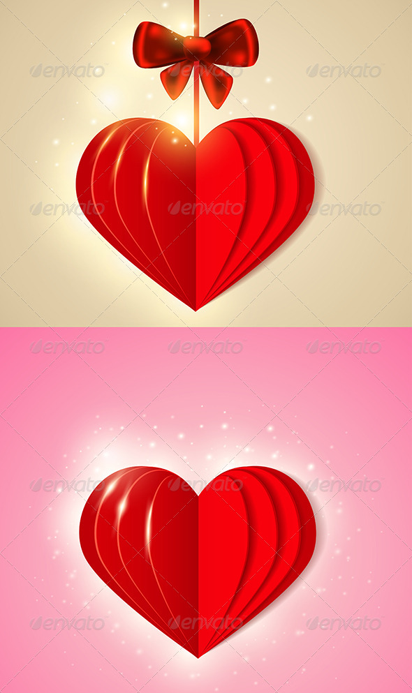 Red  Shining Paper Heart - Valentines Seasons/Holidays