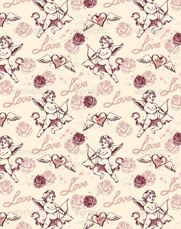 Vintage Seamless Pattern with Cupid  - Patterns Decorative