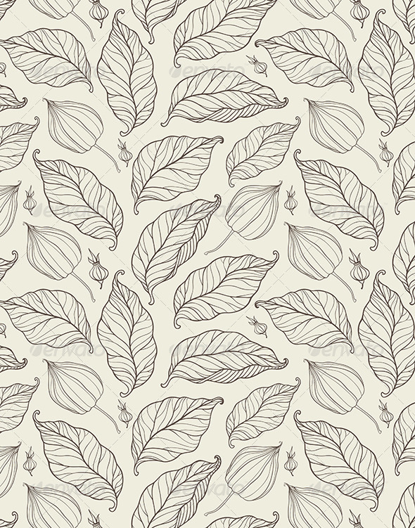 Seamless Pattern with Falling Leaves - Patterns Decorative