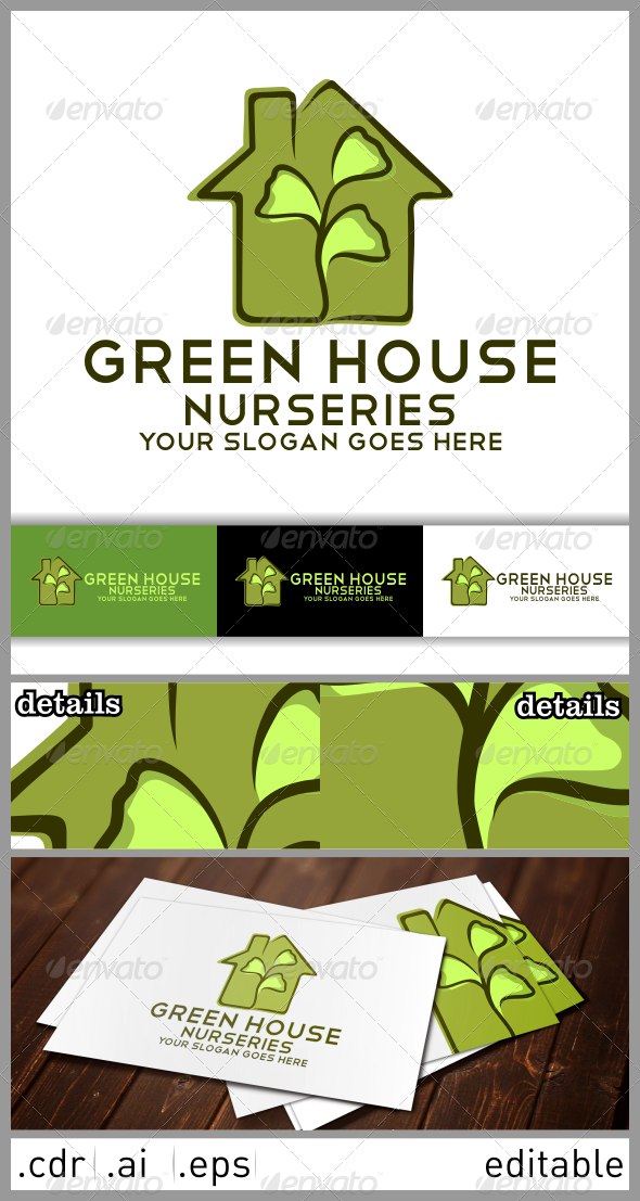 Green House Nurseries Logo Template - Nature Logo Templates