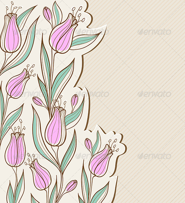 Floral Background with Pink Tulips - Backgrounds Decorative