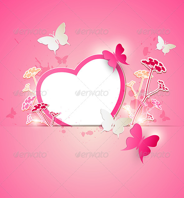 Paper Heart and Butterflies - Valentines Seasons/Holidays