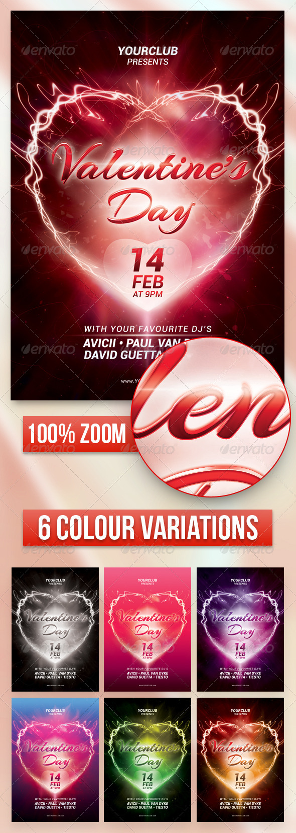 A5 Valentine's Day Party Flyer / Poster 7 in 1 - Events Flyers