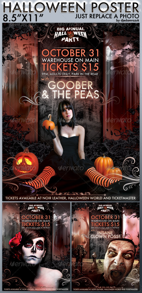 Easy to Modify Halloween Poster  - Clubs & Parties Events