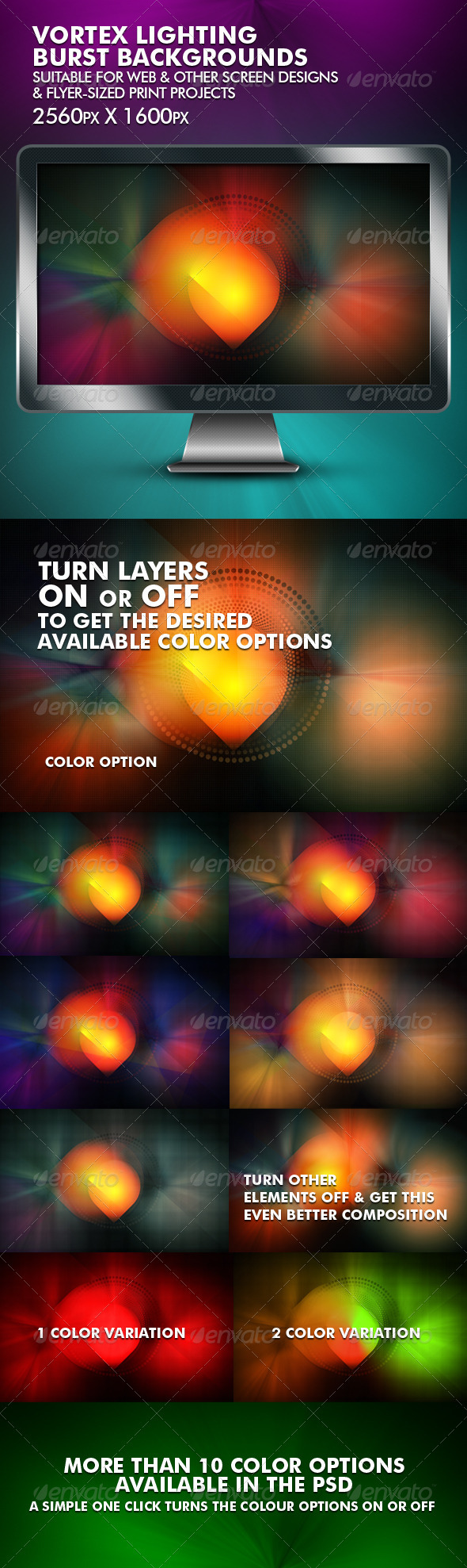 Vortex Lighting Burst Backgrounds - Backgrounds Graphics