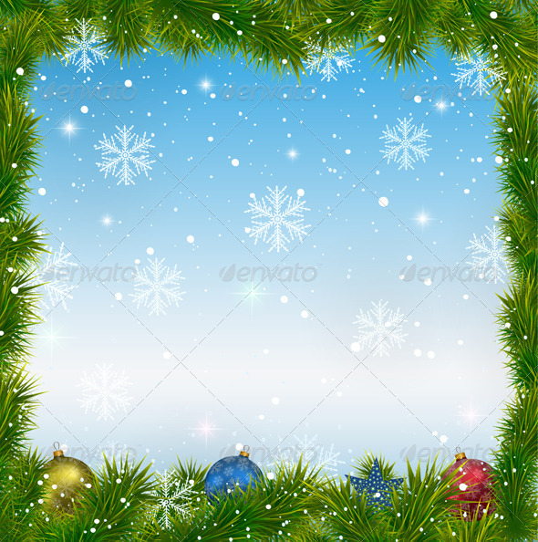 Christmas Blue Background with Snowflakes  - Christmas Seasons/Holidays