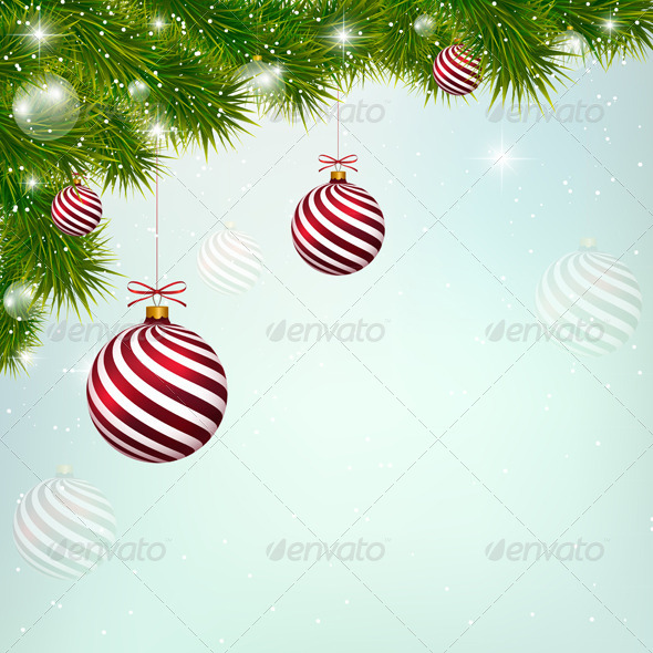 Christmas Blue Background with Red New Year Balls - Christmas Seasons/Holidays