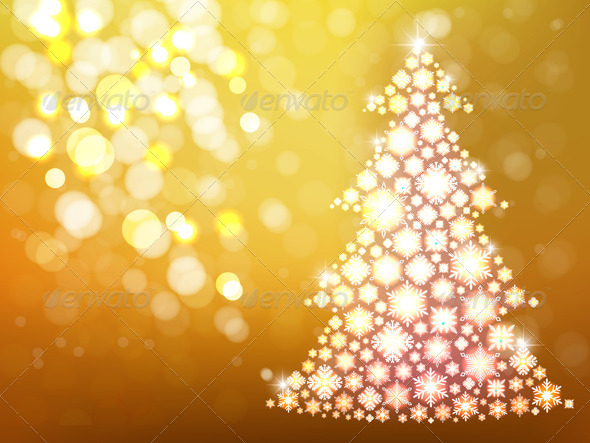 Gold Background with Christmas Tree - New Year Seasons/Holidays