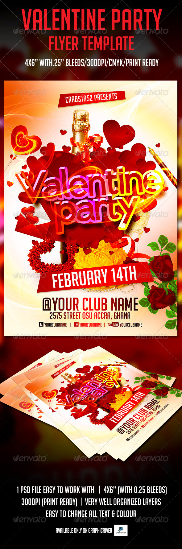 Valentine Party Flyer Template - Events Flyers