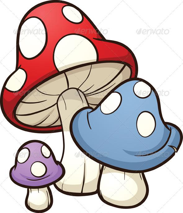 Cartoon Mushrooms - Organic Objects Objects