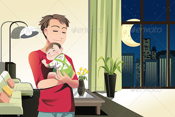 Father and Son at Home - People Characters