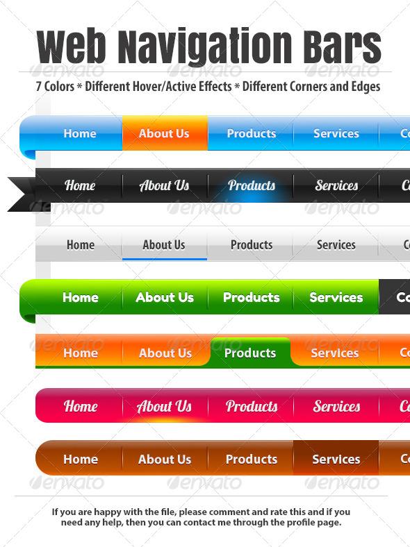 Custom Web Navigation Bars - Navigation Bars Web Elements