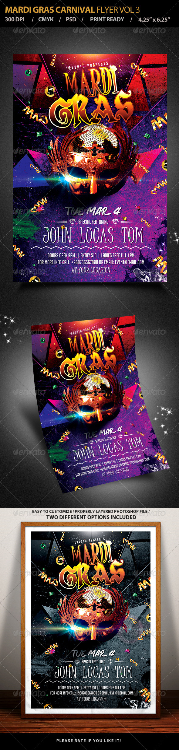 Mardi Gras Carnival Party Flyer Vol 3 - Events Flyers