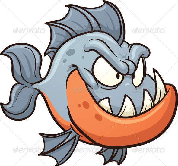 Cartoon Piranha - Animals Characters