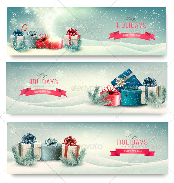 Christmas Winter Banners with Presents - New Year Seasons/Holidays