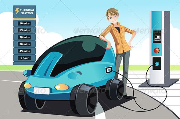 Man Charging Electric Car - Conceptual Vectors
