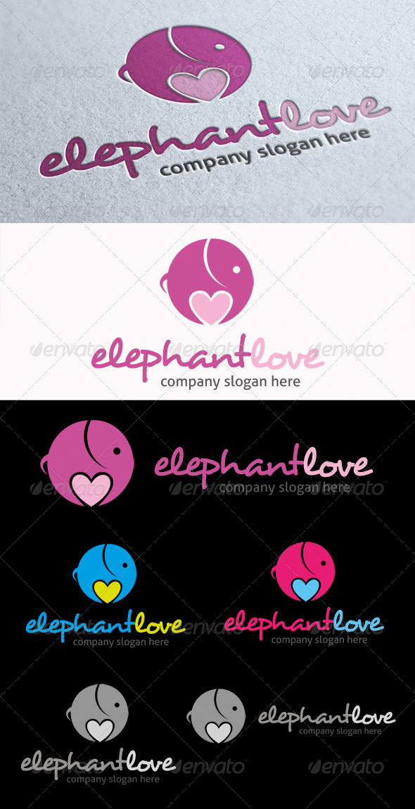 Elephant Love Logo - Animals Logo Templates