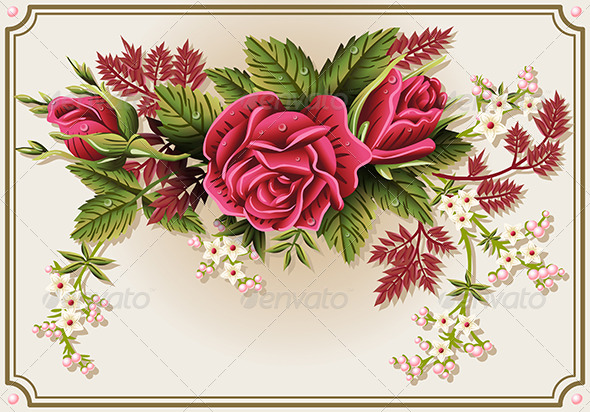 Red Roses Ornament on Vintage Frame - Flourishes / Swirls Decorative