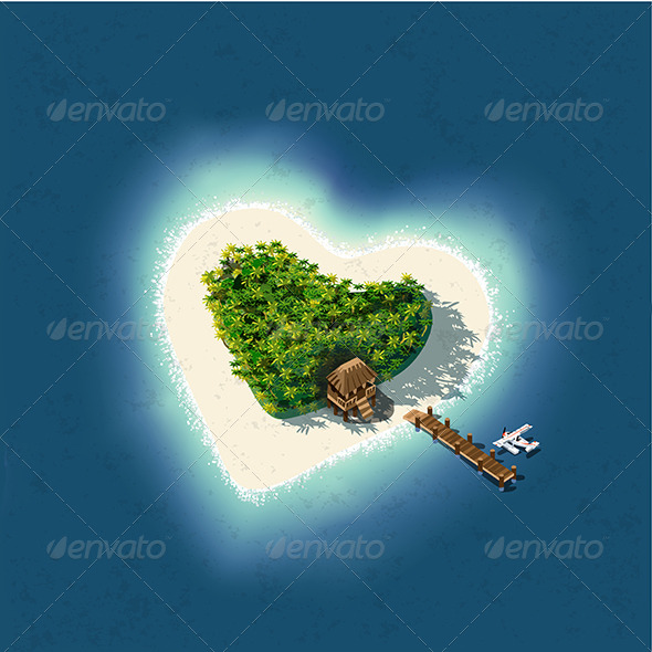 Heart Shaped Tropical Island with Romantic Resort - Travel Conceptual