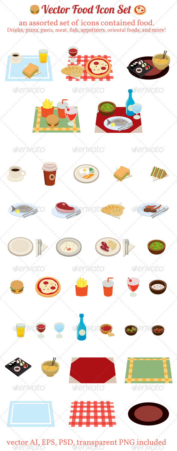 Vector Food Icon Set - Food Objects