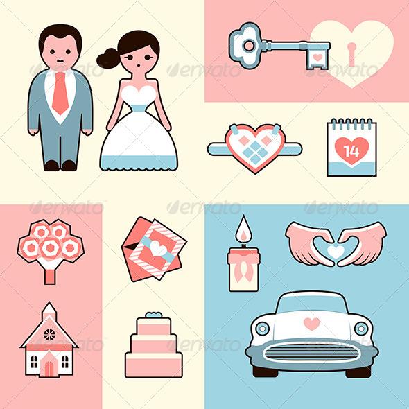 Wedding Icons Flat Illustrations Set - People Characters