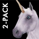 Fantasy Horse - White Unicorn - Pack of 2 - VideoHive Item for Sale