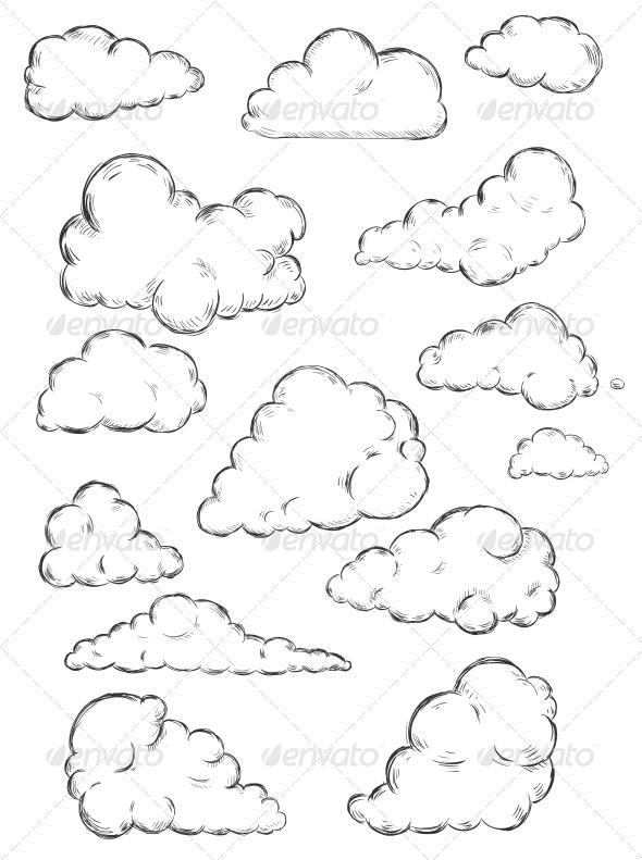 Clouds Sketch - Decorative Symbols Decorative