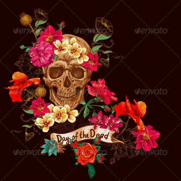 Skull and Flowers Day of The Dead - Patterns Decorative