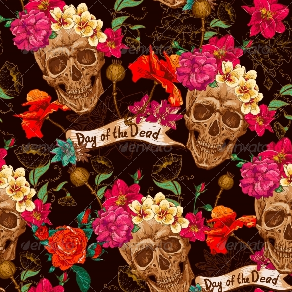 Skull and Flowers Seamless Background - Patterns Decorative