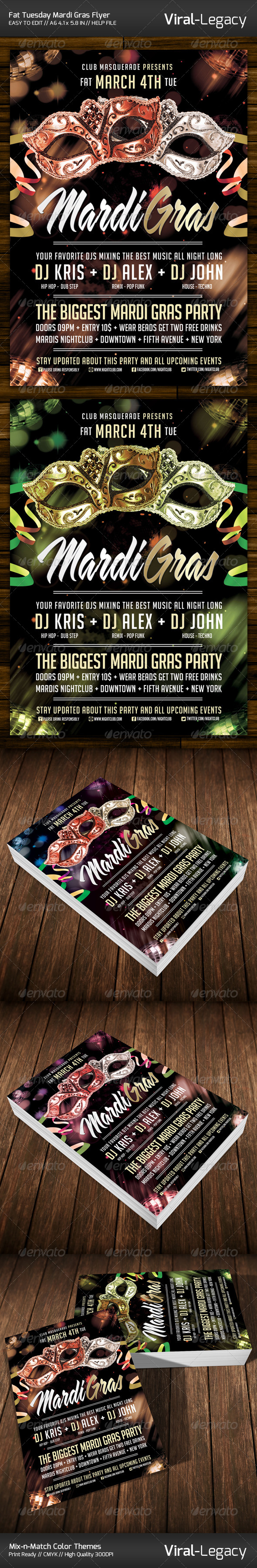 Fat Tuesday Mardi Gras Flyer - Clubs & Parties Events