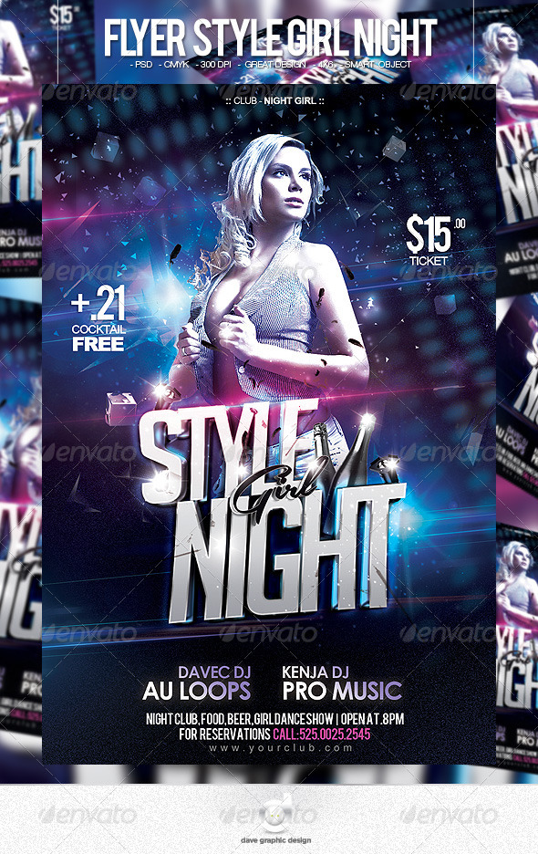 Flyer Style Girl Night - Clubs & Parties Events
