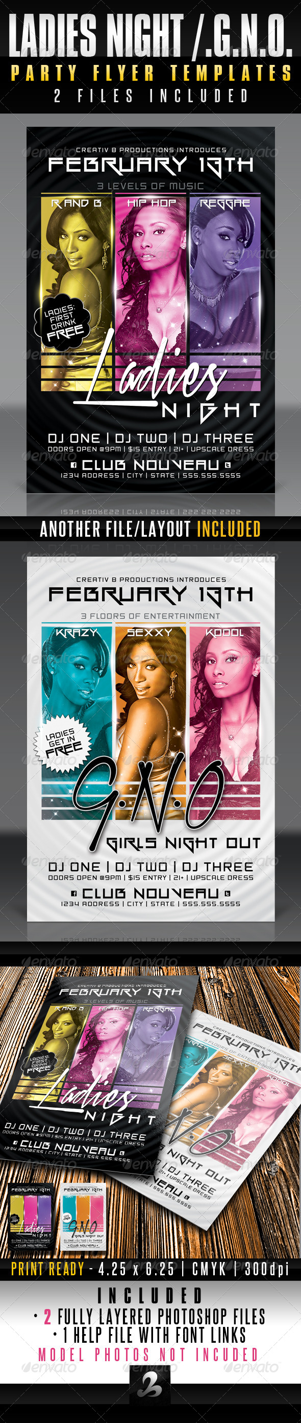 Ladies Night / GNO Party Flyer Templates - Events Flyers