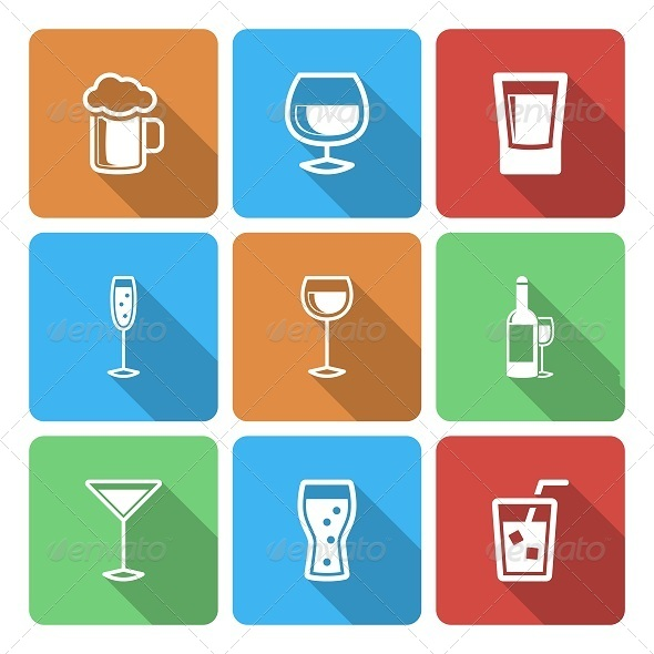 Drink Icons with Long Shadow - Icons